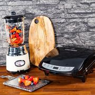 Win Retro Cream Jug Blender & a George Foreman Evolve 5 Portion Black Grill