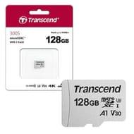 Transcend MicroSDXC Micro SD UHS-I U3 V30 A1 Class 10 for 4K HD 128GB