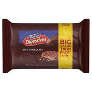 Twin Pack McVitie's Digestives Milk or Plain Chocolate