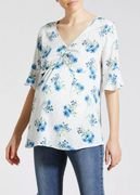 Maternity Floral Ruched Bell Sleeve Blouse