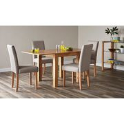 Flip Top Ash Dining Table and 4 Upholstered Chairs- Oak