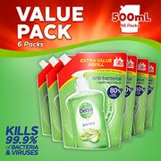 Dettol Anti-Bacterial Handwash Soap Pouch Refill, Aloe Vera, 500 Ml, Pack of 6