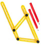 Multi Angle ABS Ruler by Astorn. Durable Measuring Ruler (With Two Pencils)