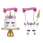 11Pcs Cute Unicorn Themed Happy Birthday Cake Toppers Hday Party Cake Decoration