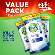 Dettol Antibacterial Surface Cleaning Disinfectant Wipes, 252 Wipes - 3 PACK
