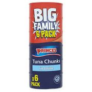 6 Pack Princess Tuna Chunks in Brine, Sunflower Oil or Spring Water Farmfoods