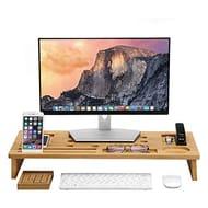 LANGRIA Computer Monitor Stand Riser Bamboo Desk Organizer TV Laptop Riser