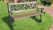 3-Seater Weather-Resistant Garden Bench - Cast Iron Rose Design!
