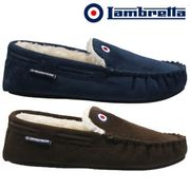 Mens Lambretta Moccasins Slippers Loafers Suede Sheepskin Fur Winter Shoes Size