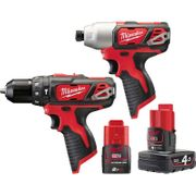 Milwaukee 12V Li-Ion Cordless Compact Combi Drill & Impact Driver Twin Pack