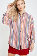 Urban Outfitters Women's Vertical Stripe Twill Button-through Shirt - SAVE £19