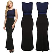 Women Sleeveless Sexy Bodycon Patchwork Party Cocktail Evening Long Maxi Dress