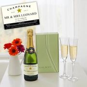 Personalised Champagne & Galway Crystal Liberty Flutes
