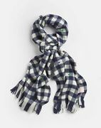 Joules Girls Bracken Luxe Brushed Woven Scarf in Navy Gingham Star