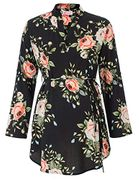 60% off Maacie Maternity Floral Pattern Roll up Sleeve V-Neck High-Low Tops