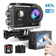 JEEMAK Sport Action Camera 4K Wifi 16MP Touchscreen 98ft WaterproofMounting Kit