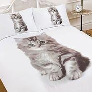 Dreamscene Luxuriously Soft Animal Kitten Duvet Cover Bedding Set Single