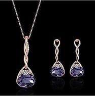Hosaire Necklace Earrings Diamond Water Droplets Elegant Women Jewellery Set