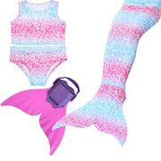 Girl's Mermaid Swimming Costume Set with Swimmable Monofin....