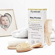 3 Piece All-Natural Hairbrush & Comb Set by MyTrendBaby