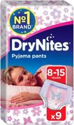 Huggies Dry Nites Girls Pyjama Pants 8 to 15 Years 9 Pack