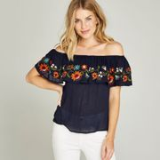 NAVY EMBROIDERED FLAMENCO BARDOT TOP Sizes 8,10 & 12