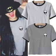 Design Fashion Women Short Sleeve Popular Gray T Shirts