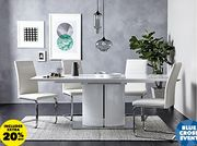 Ramira White Extending Dining Table & 4 Alcora Chairs - Save 35%