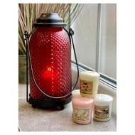 Ruby Red Freestanding/hanging Glass Lantern