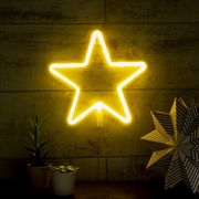 Star Led Neon Wall Light, White