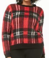 Plus Size Brushed Knit Plaid Sweater