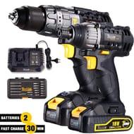 Drill and Impact Driver, TECCPO Cordless Drill Driver 18V, Twin Pack
