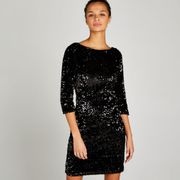 BLACK SEQUIN BODYCON LONG SLEEVE DRESS - Size 8