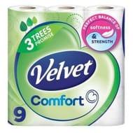 Velvet Triple Toilet Roll White 9 Pack