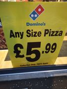 Any Size Pizza Collection Only £5.99 at Newton Mearns Dominos