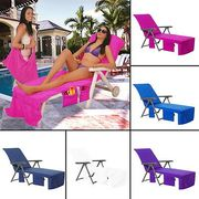 Sun Lounger Mate Beach Towel Carry with Pockets Bag for Holiday Garden Lounge