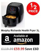 1/2 PRICE AT AMAZON! Morphy Richards Health Fryer 3L