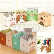 Cute Cat Cartoon DIY Paper Stationery Makeup Cosmetic Desk Organizer Storage Box