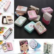 Cute Tinplate Iron Tin Square Storage Case Container Small Coin Candy Key Box
