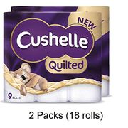 Cushelle Quilted 9 Roll Toilet Roll Tissue Paper (2 Packs(18 Rolls)) Only £10.49