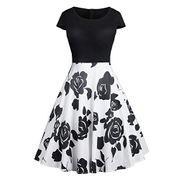 Sioneit Women Casual O-Neck A-Line Pleated Floral Dress Dresses