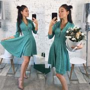 Solid Pleated V-Neck Dresses