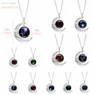 Pretty Half Moon Zodiac Style Necklace