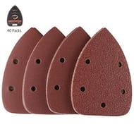 40Pcs Detail Sander Paper, Tacklife Mouse Sanding Pads