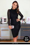 Black Long Sleeved Sequin Midi Dress