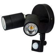 Luceco Twin LED PIR Wall Spotlight - Black