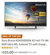 AMAZON DEAL OF THE DAY (Saturday): Sony Bravia KD43XE8004 43 Inch TV