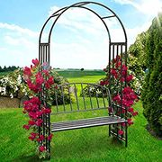Metal Rose Arch with Bench | Powder Coated Steel, 114/205/50cm, Black