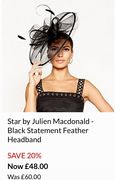Star by Julien Macdonald - Black Statement Feather Headband - Save 20%