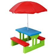Cheap Oypla Kids Childrens Picnic Table Set with Parasol
